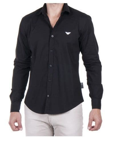 Emporio Armani Men's Black Fitted Long Sleeve Shirt with Eagle RRP £70