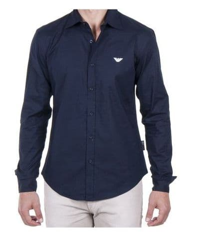 Emporio Armani Men's Navy Blue Fitted Long Sleeve Shirt with Eagle RRp £70
