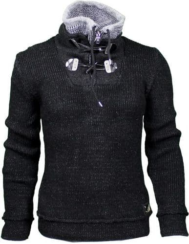 Fargo Designer Cable Hooded Jumper Toggle and Draw String Black Charcoal