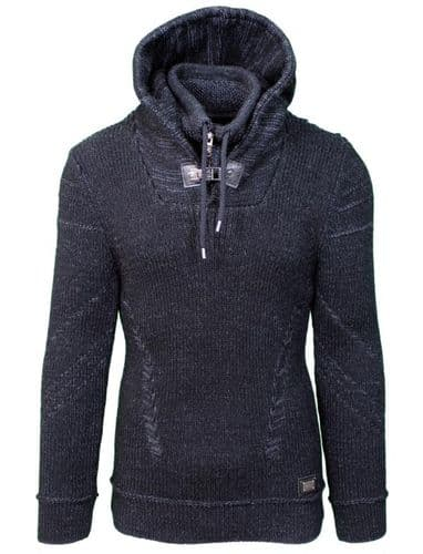 Fargo Designer Cable Hooded Jumper zip and Draw String Ecru Grey