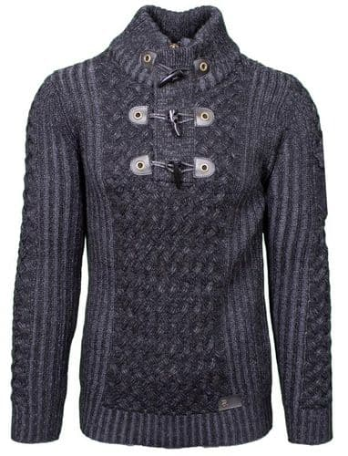 Fargo Designer Cable Hooded Jumper zip  Toggle Charcoal Grey