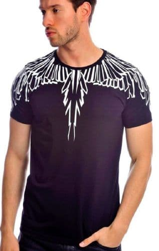 Fargo Designer Eagle Tattoo Navy White T Shirt Fitted Crew Neck RRP £30