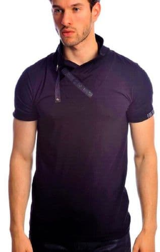 Fargo Designer Navy Cowl Neck Crew T Shirt Detailed Fitted RRP £30