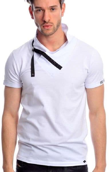 Fargo Designer White  Cowl Neck Crew T Shirt Detailed Fitted RRP £30