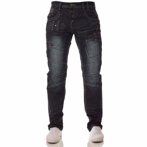 Fargo Mens Designer Blue Stonewashed Casual Denim Regular Fit Tapered Jeans
