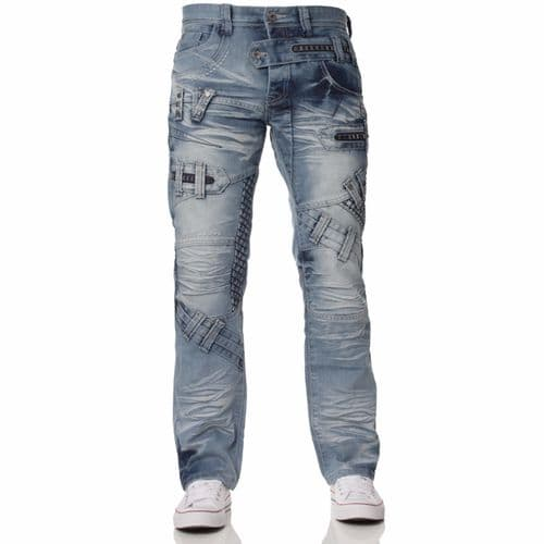 Fargo Mens Designer Mid Blue Stonewashed Casual Denim Regular Fit Tapered Jeans