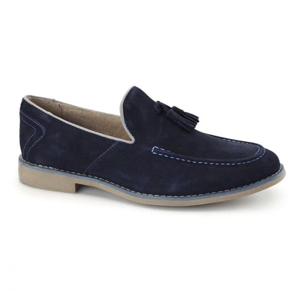 Front Navy Suede Leather Tassel Loafers Mens Designer Smart Casual Shoe RRP £70