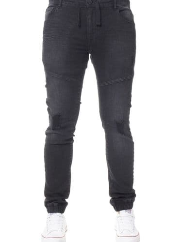 iDenim Men's Designer Black  Elasticated Waist hem Jeans