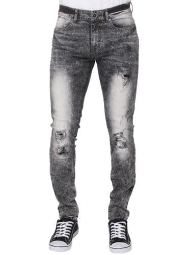 iDenim Mens Designer Grey  Distressed Denim Slim Tapered Fit