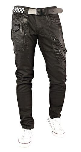 iDenim Mens Designer Zips Black Coated Slim Tapered Fit Quality Jeans