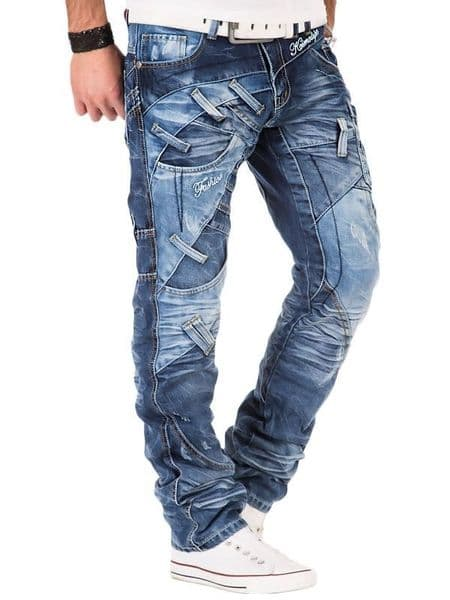 Kosmo Lupo Jeans Light Blue Designer Zip Detail Detailed Tapered Fit Km130