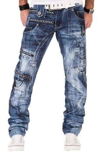 Kosmo Lupo Mens Designer Stonewash Jeans With Zip Rivet Detail Slim Tapered Fit