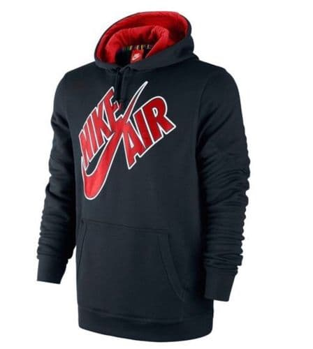 Men's Nike Logo Black Fleece Hoodie Hoody Hooded Sweatshirt Jumper Pullover (1)