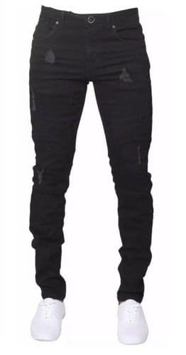 Mens idenim Skinny Slim Tapered Fit Ripped Biker Black Stretchable Denim Jeans