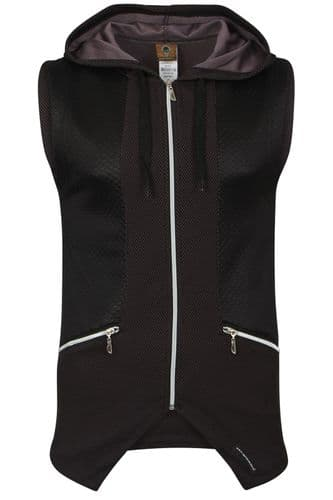 Mens Italian Designer fitted Hooded Top Waist Coat Black Quilt with zip Detail