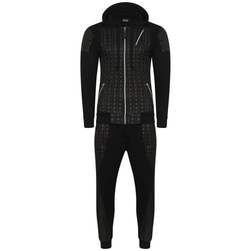 Mens Italian DG Designer fitted Hooded Tracksuit Black Quilt Fabric detail