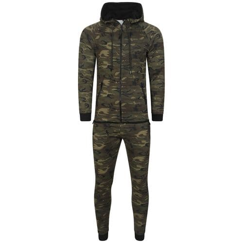Mens Italian DG Designer fitted Hooded Tracksuit Camouflage Fabric detail