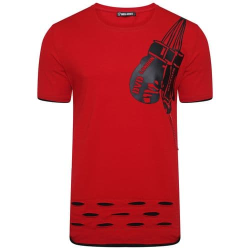 Mens Italian DG Designer Red Black Boxing T Shirt Fitted Long Style Crew Neck