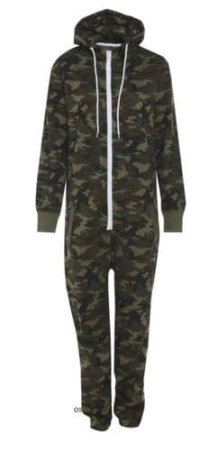 Mens Unisex Onesie Full camouflage Print Zip Up All In One Hooded Brushed Fleece Inside Army Camo Jumpsuit Playsuit