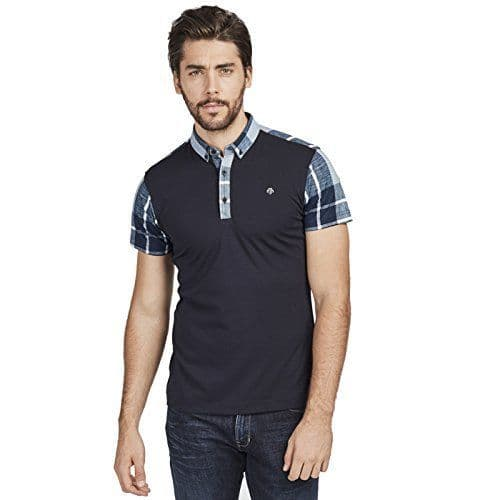 Mish Mash Men's Designer Navy Short Sleeve Button Down Check Collar Polo Shirt (1)