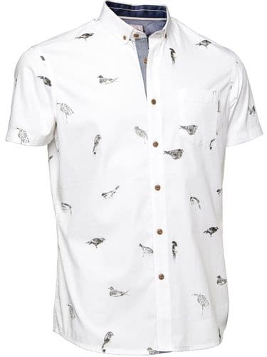 Mish Mash Men's Designer White Birdy Short Sleeve Shirt button Down Collar