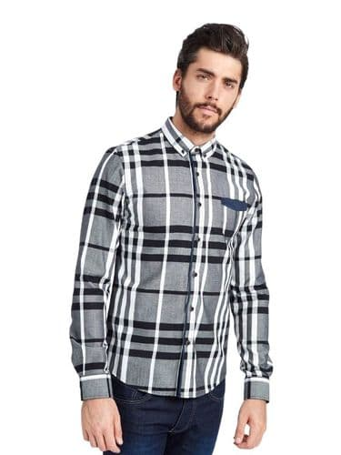 Mish Mash Men's Long Sleeve Buttoned White Black Grey Check Casual Shirt RRP £50