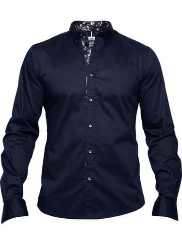 MISH MASH MEN'S NEW DESIGNER NAVY DESIRE LONG SLEEVE BUTTONED CASUAL SHIRT (1)