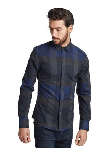 Mish Mash Men's New Navy Grey Check Long Sleeve Buttoned Casual Shirt RRP £50