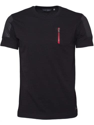 New Eto Mens Crew Neck T shirt Black With Quilt Effect short sleeve top