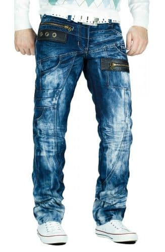 New Kosmo Lupo Mens Jeans Blue Leather Tabs Tapered Fit