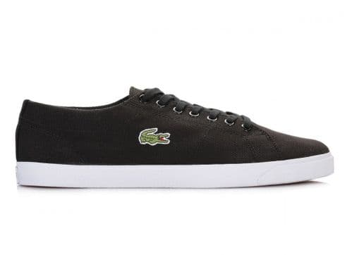 New Lacoste Mens Black Blue  sole Canvas Trainers