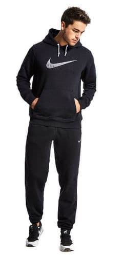 Nike Mens Brushed Fleece Warm Up Hooded Sports Jogging Tracksuit Top & Bottom Black