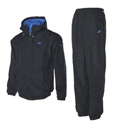 Nike Techno Woven Full Suit Tracksuit Black Hooded Tracksuit Running Gym