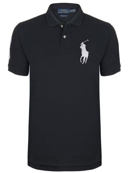 Ralph Lauren Polo Big Pony 3 Logo Shirt Short Sleeve PK Black White RRP £90