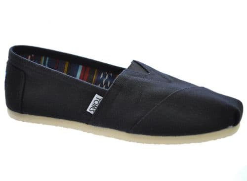 TOMS BLACK CLASSIC ORIGINAL CANVAS PUMPS ESPADRILLES CASUAL SLIP ON GREAT QUALITY (1)