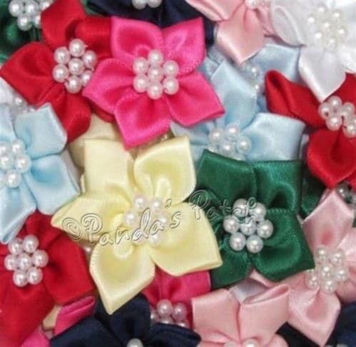 Satin Ribbon Poinsettia Flowers with Pearl Beads