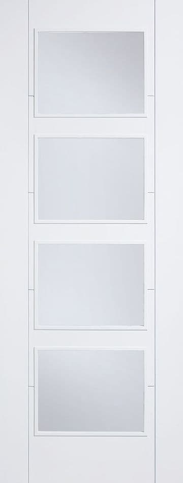 White Vancouver Clear Glazed Fire Door (4L)