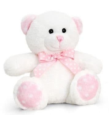 Personalised Pink and White Baby Teddy