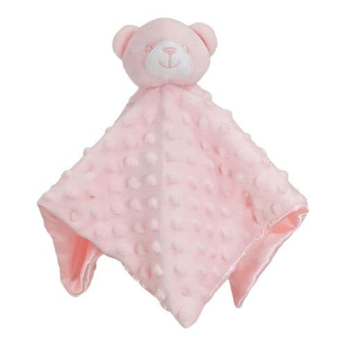 Personalised Pink Dimple Teddy Comforter