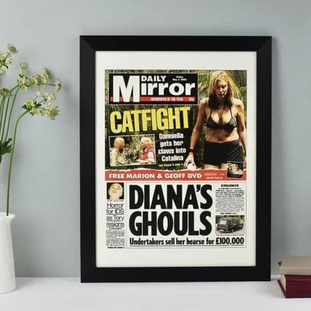 Front Page Newspaper Print With Black Frame - Choose Your Date
