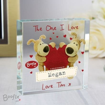 Personalised Boofle Shared Heart Crystal Token - Large