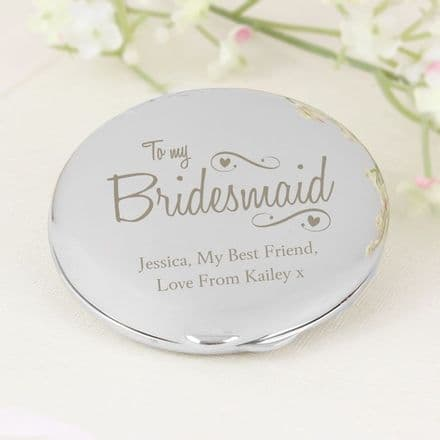 Personalised Bridesmaid Hearts & Swirls Compact Mirror