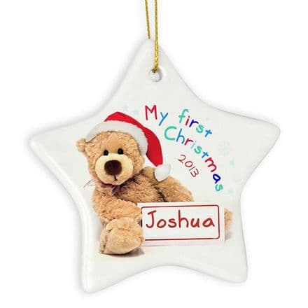 Personalised Ceramic My First Christmas Teddy Star Decoration