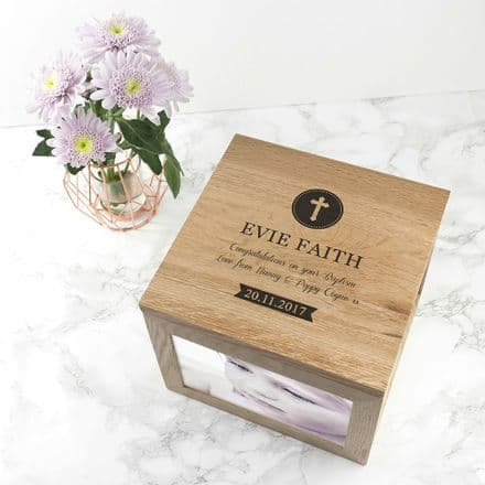 Personalised Christening or Baptism Oak Photo Keepsake Box