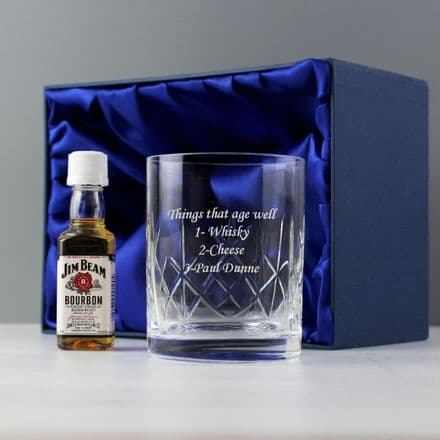 Personalised Crystal Glass & Miniature Bourbon Whisky Gift Set