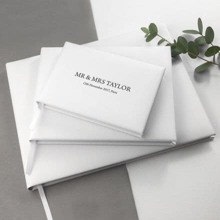 Personalised Engraved White Leather Wedding Guest Book - Small
