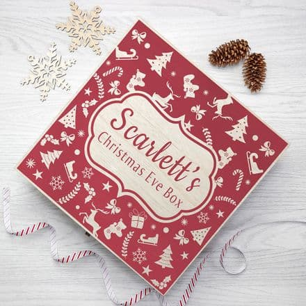 Personalised Festive Pattern Large Wooden Christmas Eve Box - 2 Colours