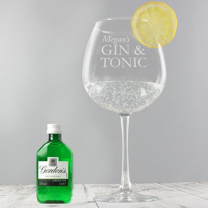 Personalised Gin & Tonic Balloon Glass with Gin Miniature Set |  Personalised Gifts | The Present Season