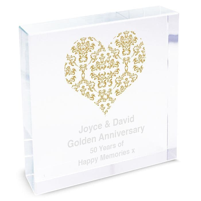 Personalised Gold Damask Heart Large Crystal Token - Golden Anniversary Gifts   Personalised Gifts - The Present Season