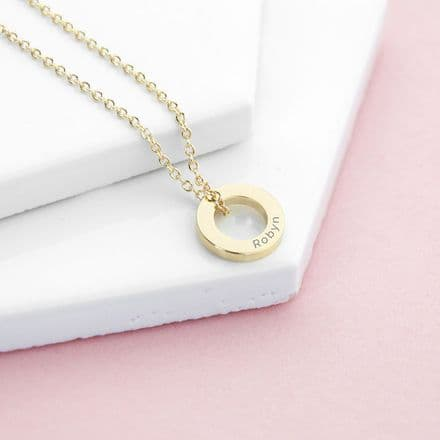 Personalised Gold Plated Mini Ring Necklace